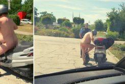 desnudo en scooter