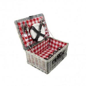 Picknickmand - 21-delig - 4-persoons - 40 x 28 x 20 cm - rood voor €39