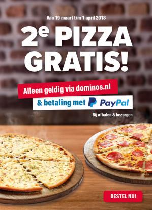 2e pizza gratis bij Domino's