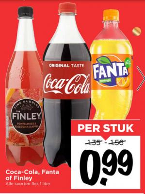 Coca Cola, Fanta of Finley 1L voor €0,99