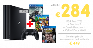 Inruilactie PS4 PRO + Destiny 2 + Crash Bandicoot + Call of Duty WWII vanaf €284