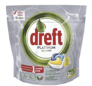 Dreft Platinum Lemon All-In-One Vaatwastabletten 10 stuks voor €1