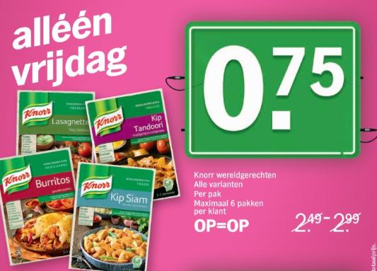 Alle varianten Knorr wereldgerechten voor €0,75