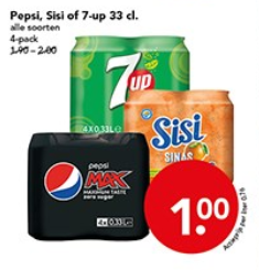 Pepsi, Sisis of 7-up 4-pack voor €1