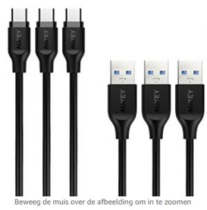 aukey 3x USB-C 3.1 naar USB 3.0 kabel 1 meter, Quick Charge  voor €5,99