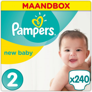 Pampers New Baby - Maat 2 (Mini) 3-6 kg - Maandbox 240 Stuks - Luiers voor €28,25