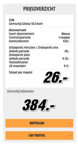 Samsung Galaxy S8 64GB voor €440 of €410 ( verlenging )