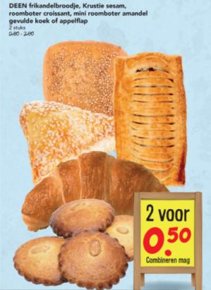 Diverse hartige broodjes en/of koek 2 voor €0,50