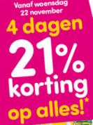 21% korting op alles bij de DA