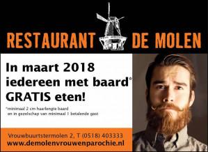 Gratis eten voor iedereen met baard bij Restaurant de Molen in Vrouwenparochie