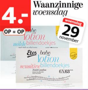 Etos lotion billendoekjes 6-pak voor €4