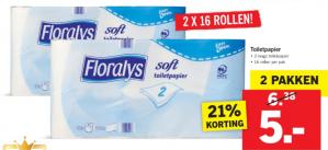 Floralys toiletpapier 32 rollen voor €5