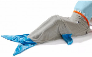 Blauw/grijze haaienvin fleece deken voor €7,95