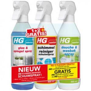 HG Actieverpakking Schimmel-, Douche- en Glasreinigers 3x 500 mlvoor €7.49