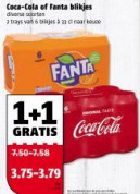 Blikjes Coca Cola of Fanta 1+1 Gratis