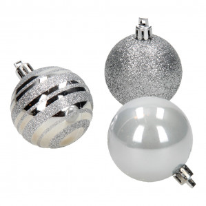 Kerstballen Zilver, 12st. voor €0,80