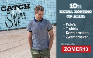 10% korting op alle Polo's, shirts en broeken