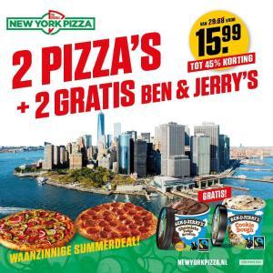 Code voor 2 Pizza's met 2 Ben & Jerry's voor €15,99