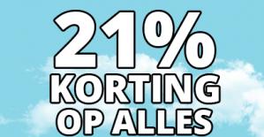 21% korting op de hele website