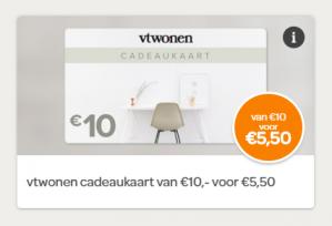 Spaar voor een vtwonen cadeaukaart van €10 voor €5,50