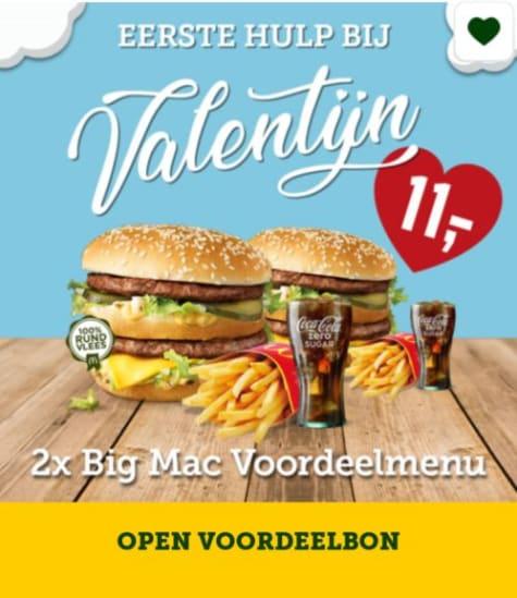 2x big mac voordeelmenu voor €11 in de McDonald's App