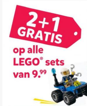 2+1 gratis op LEGO sets van €9,99