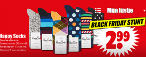 Black Friday bij Dirk  Happy Socks voor €2,99