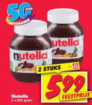 2 Potten Nutella 825 gram voor €5,99