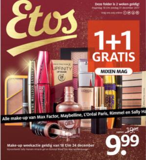 1+1 gratis op alle make up van Max Factor, Maybeline, L'Oréal, Rimmel en Sally Hansen bij Etos