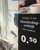 Moederdagontbijt voor €0,50