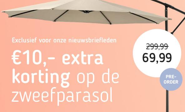 Code voor 10 euro korting op zweefparasols