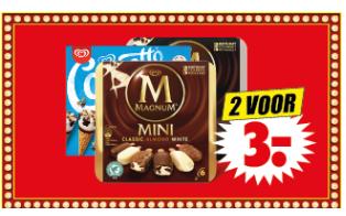 Magnum of Cornetto mini 2 dozen voor €3