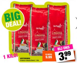 1 kg Crema di Roma koffiebonen voor €3,99