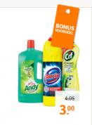 Diverse schoonmaakproducten van Glorix, Andy en Cif 3 voor €3