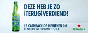 Probeer Heineken sixpack blik of fles met €3 korting dmv cashback