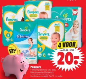 Pampers Premium protection / New baby of splashers 4 pakken voor €20