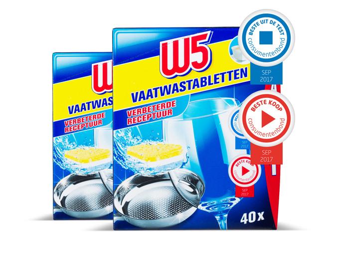 W5 Vaatwastabletten 2 pakken voor €5