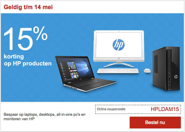 15% korting op alle HP Producten