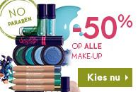 Alle make-up 50% korting incl gratis verzending