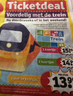 Vanaf maandag 12 maart treinkaartjes  vanaf € 13.99 (bij 3 stuks) bij Kruidvat