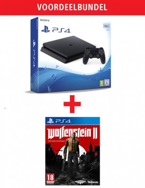 PlayStation 4 Slim 500GB Black + Wolfenstein II - The New Colossus voor €209