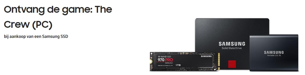 Bij aankoop van een promotiemodel Samsung SSD Gratis The Crew 2 (PC)