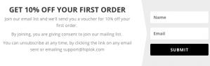 10% korting op je eerste bestelling
