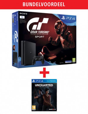 PlayStation 4 Slim 1TB + Uncharted  + Gran Turismo Sport +The Lost Legacy voor € 335