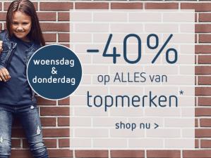 Kleertjes.com sale  met 40% korting op diverse topmerken