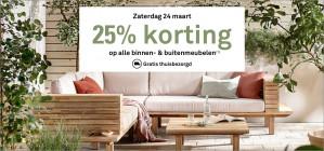 25% korting op alle meubels en tuinmeubelen