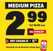 Medium pizza voor €2,99