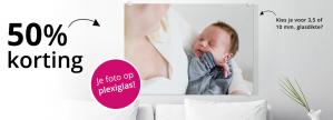 50% korting op alle foto's op glas bij fotocadeau