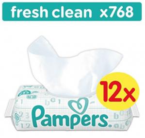 Pampers New Baby Fresh Clean babydoekjes 12 pakken met 64 doekjes voor  €8,99