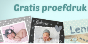 Gratis proefdruk babykaartjes via kaartje2go